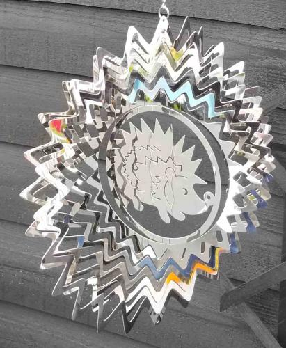 Stainless Steel Square Wind Spinner - Hedgehog Design