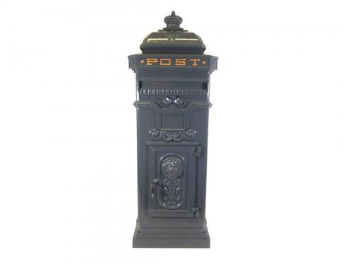 Vintage Grey Grand Pillar Post Box