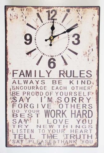 Wall Clock - Metal Message Plaque Family Rules
