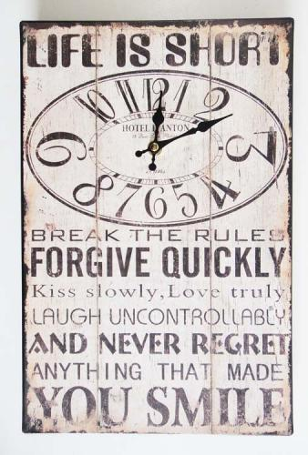 Wall Clock - Metal Message Plaque Life Is Short