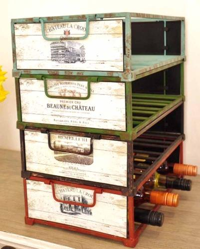 Wine Bottle Holder - Vintage Stacking Crates Set