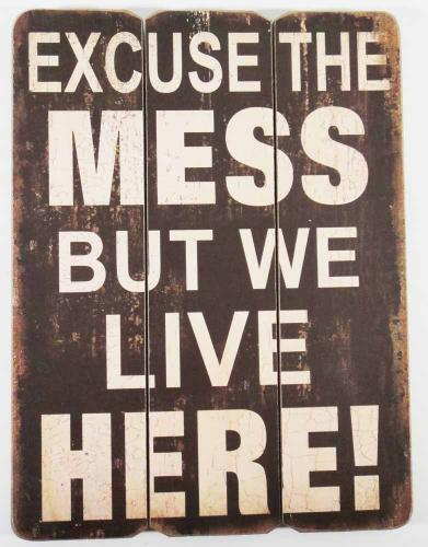 Wooden Wall Art - Excuse The Mess Sign
