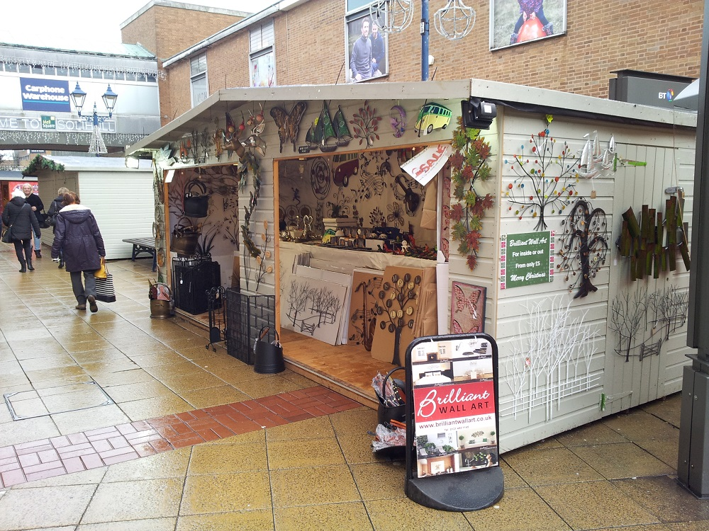 Christmas market stall right side view