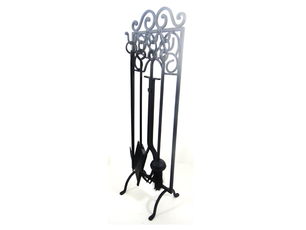 4 Piece Scroll Fireplace Companion Tool Set