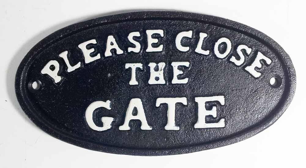Cast Iron Sign - Please Close The Gate