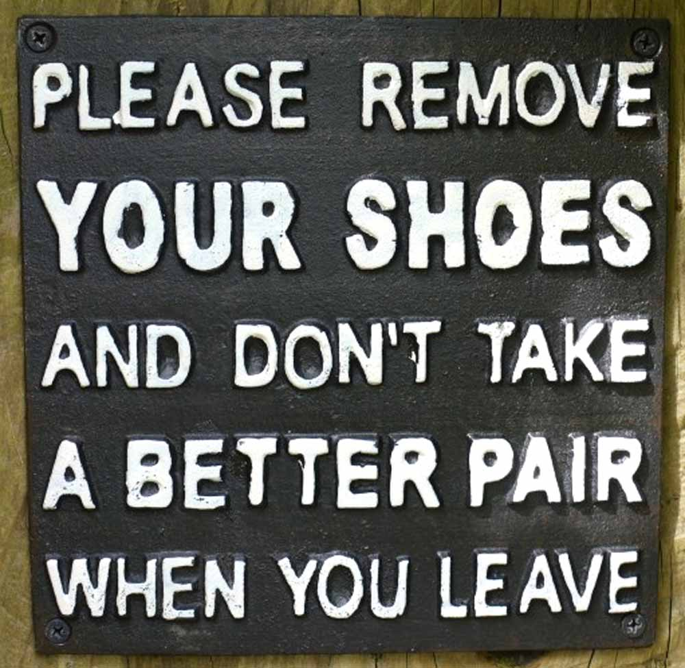 Cast Iron Sign - Please Remove Your Shoes
