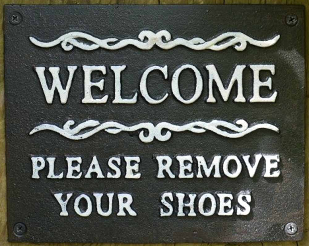 Cast Iron Sign - Welcome PLease Remove Your Shoes