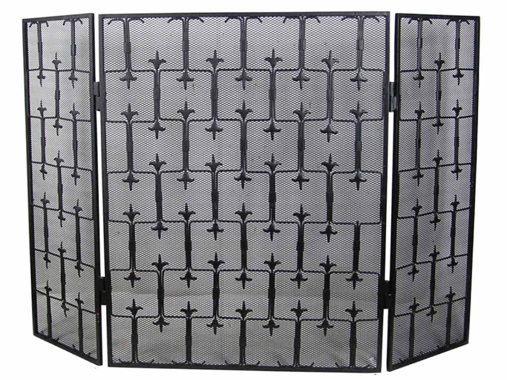 Decorative Fleur 3 Fold Fire Screen Spark Guard