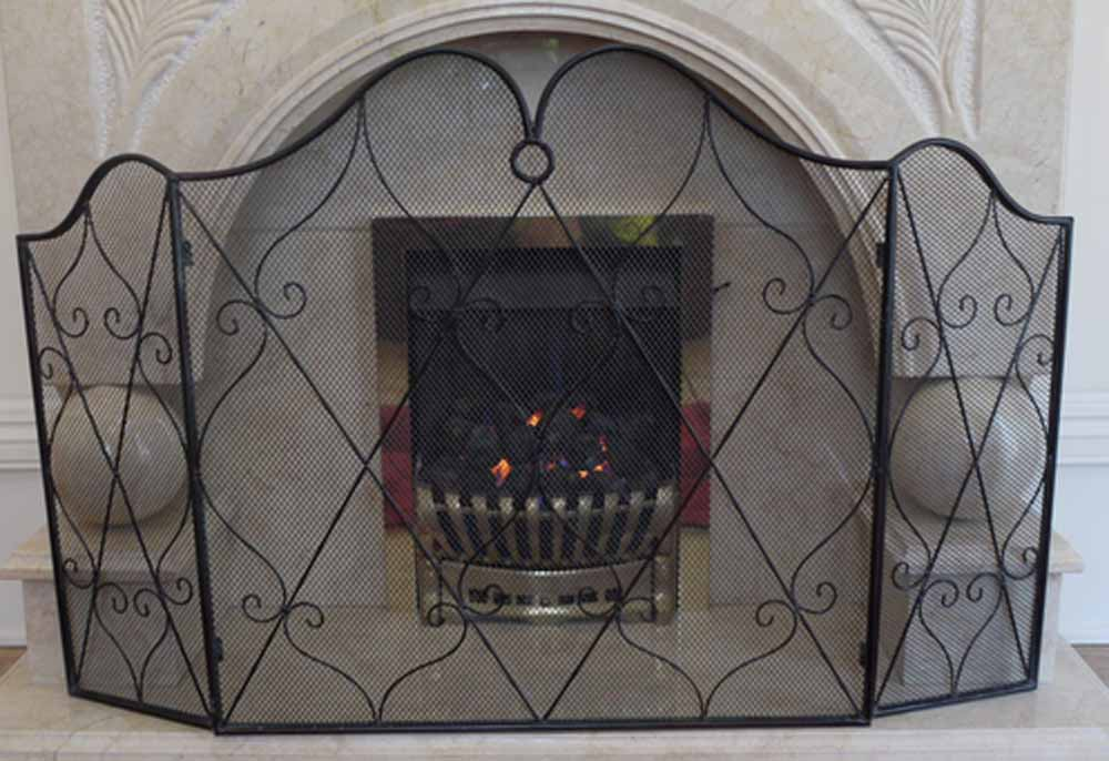 Decorative Scroll Grid 3 Fold Fire Screen Spark Guard