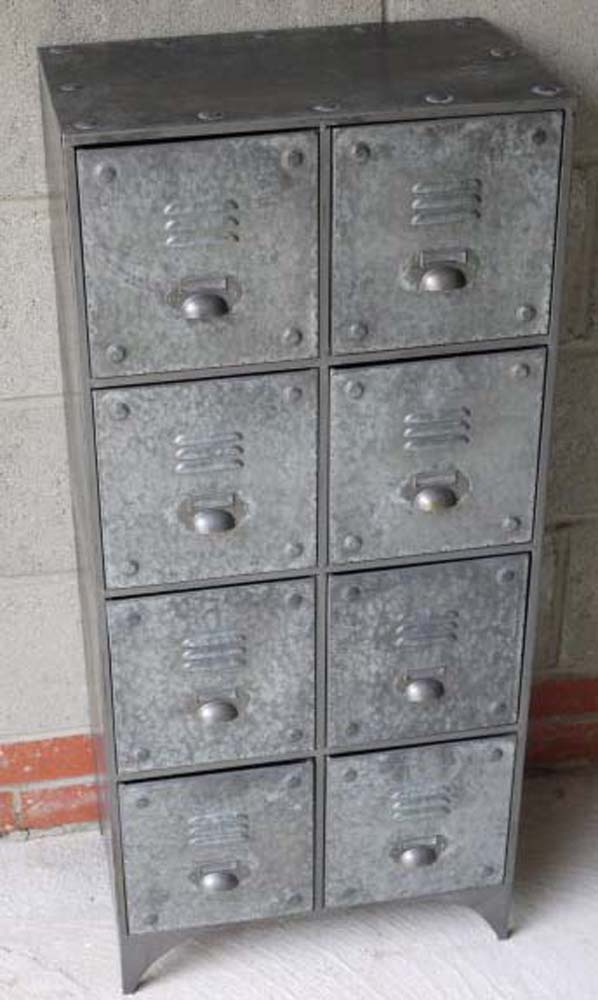 Large Industrial Metal Cabinet 8 Drawers