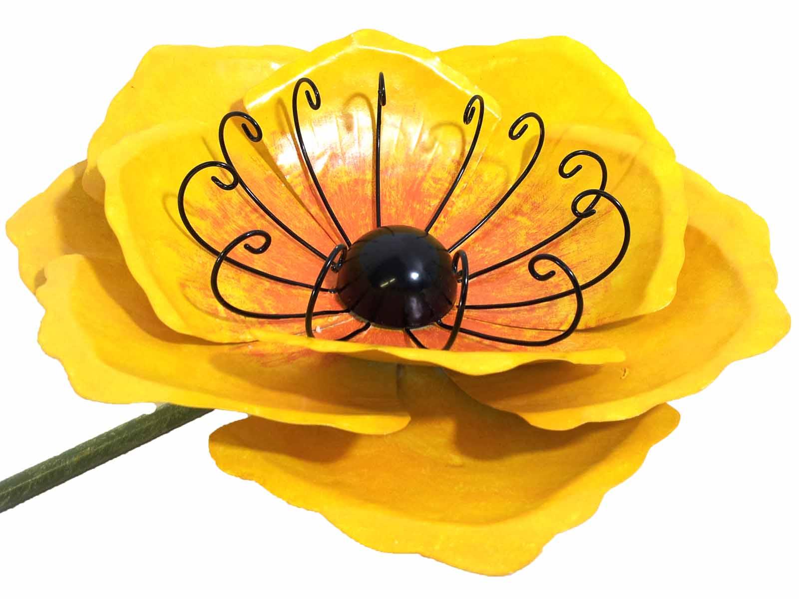 Large Metal Garden Flower Stake - Yellow Poppy