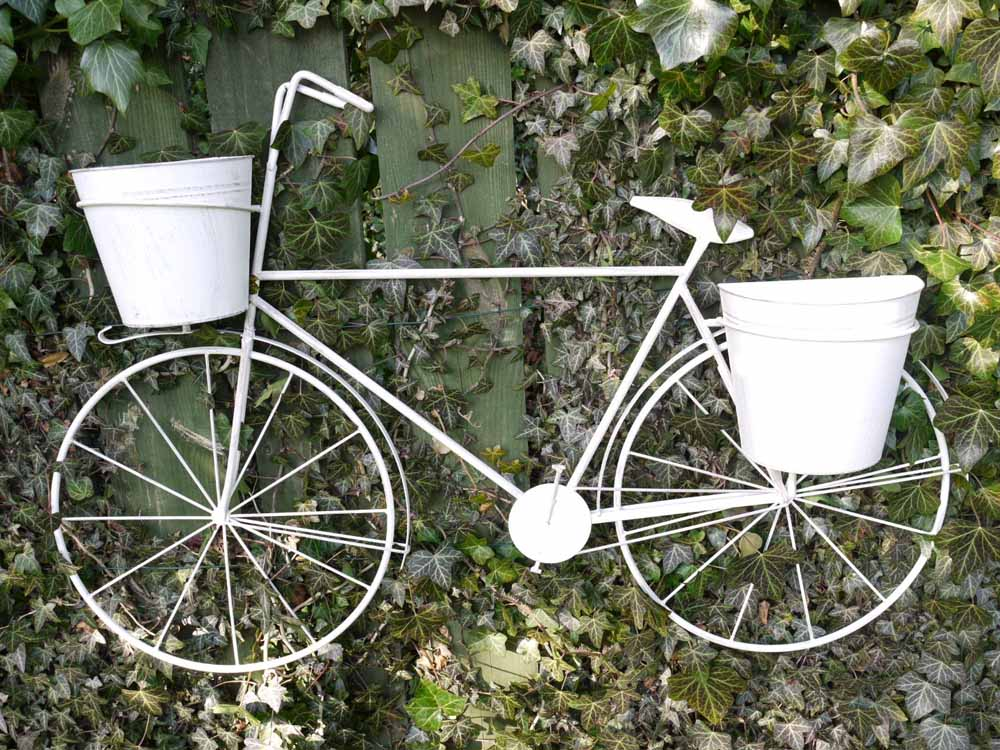 Large Shabby Chic Wall Mounted Bicycle Flower Planter
