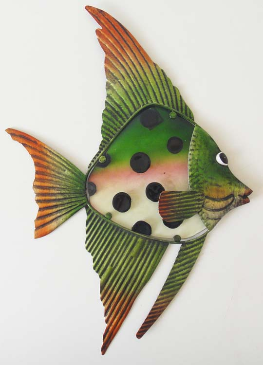 Metal Glass Wall Art - Green Black Angel Fish