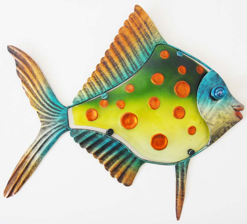 Metal Glass Wall Art - Green Orange Spot Fish