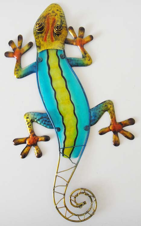 Metal Glass Wall Art - Teal Yellow Gecko Lizard