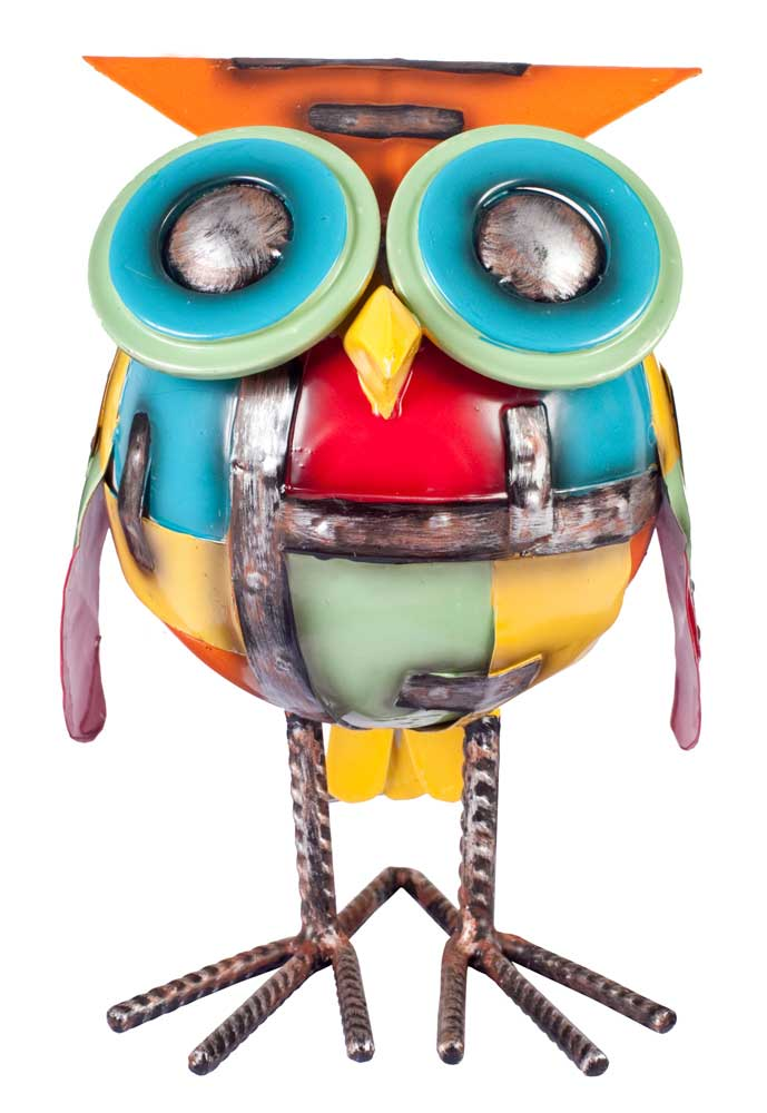 Metal Sculpture - Industrial Chubby Owl