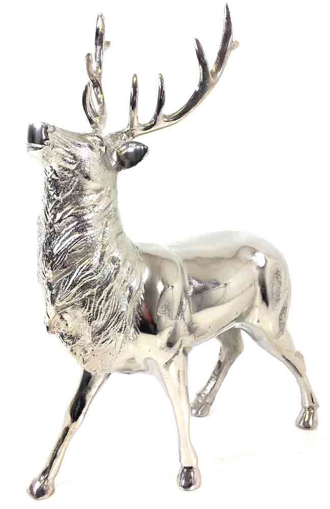 Metal Sculpture - Silver Stag Ornament