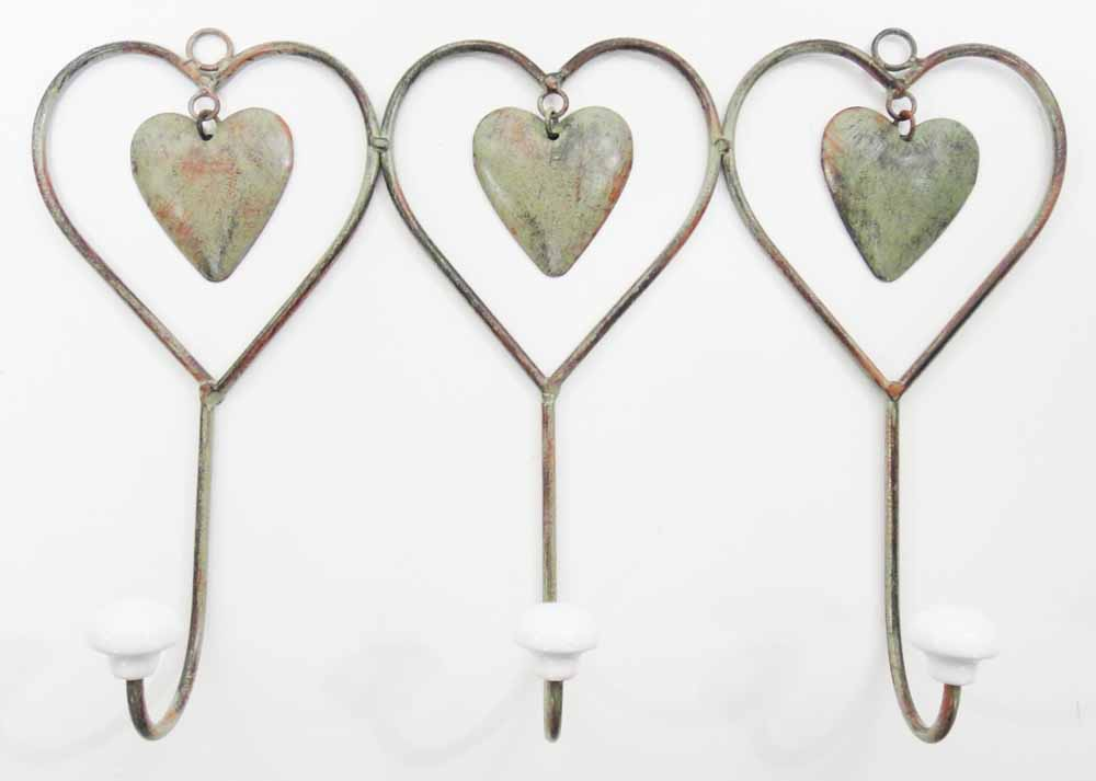 Metal Triple Shabby Chic Heart Coat Hook