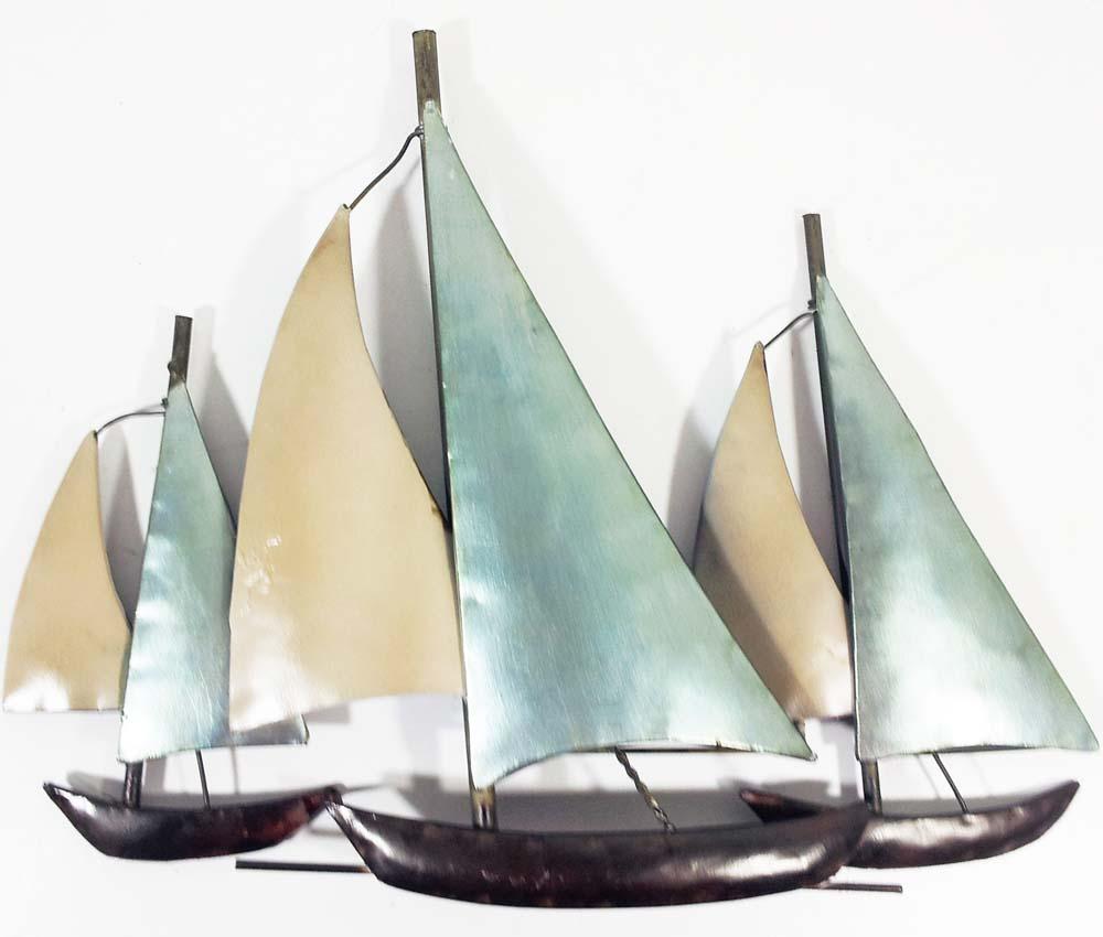 Bathroom wall art sea - Metal Wall Art 3 Sail Boats At Sea