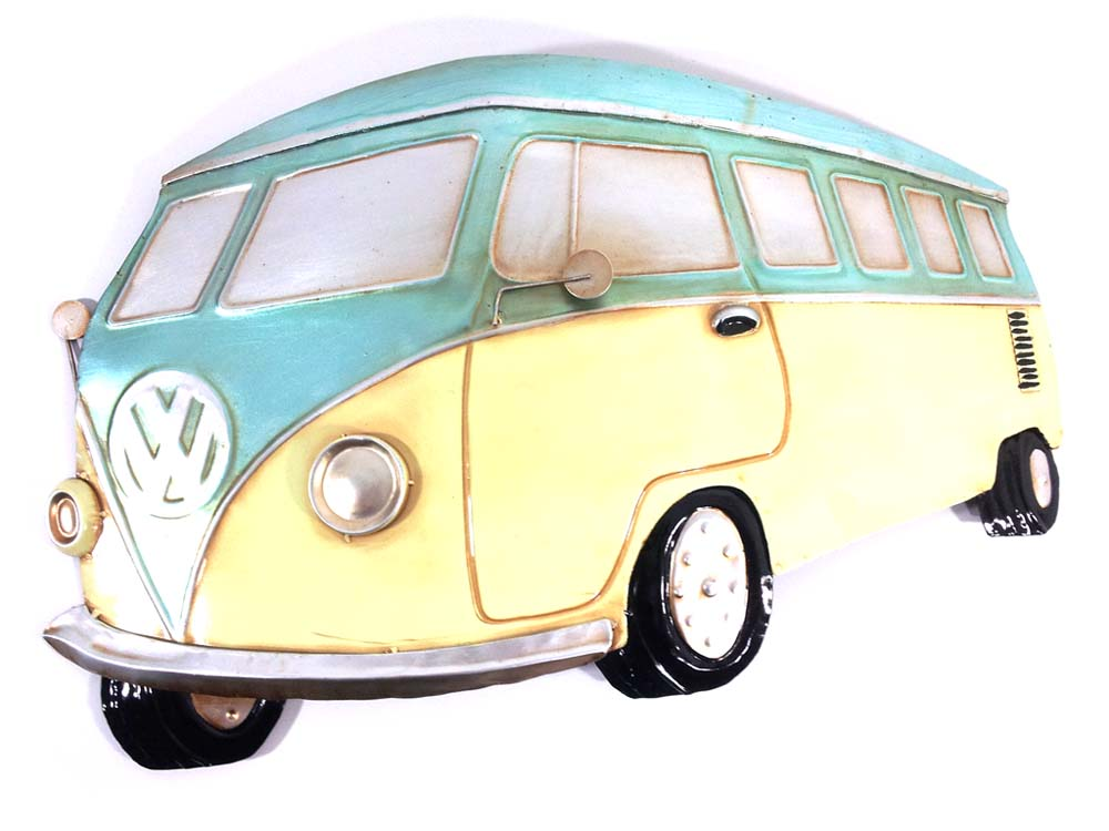 Metal Wall Art - Aqua VW Campervan