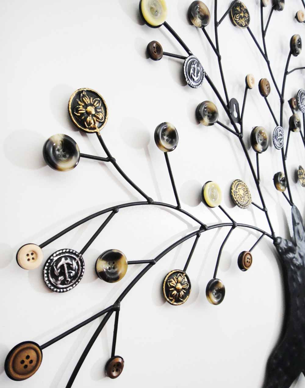 metal wall art autumn button oak tree