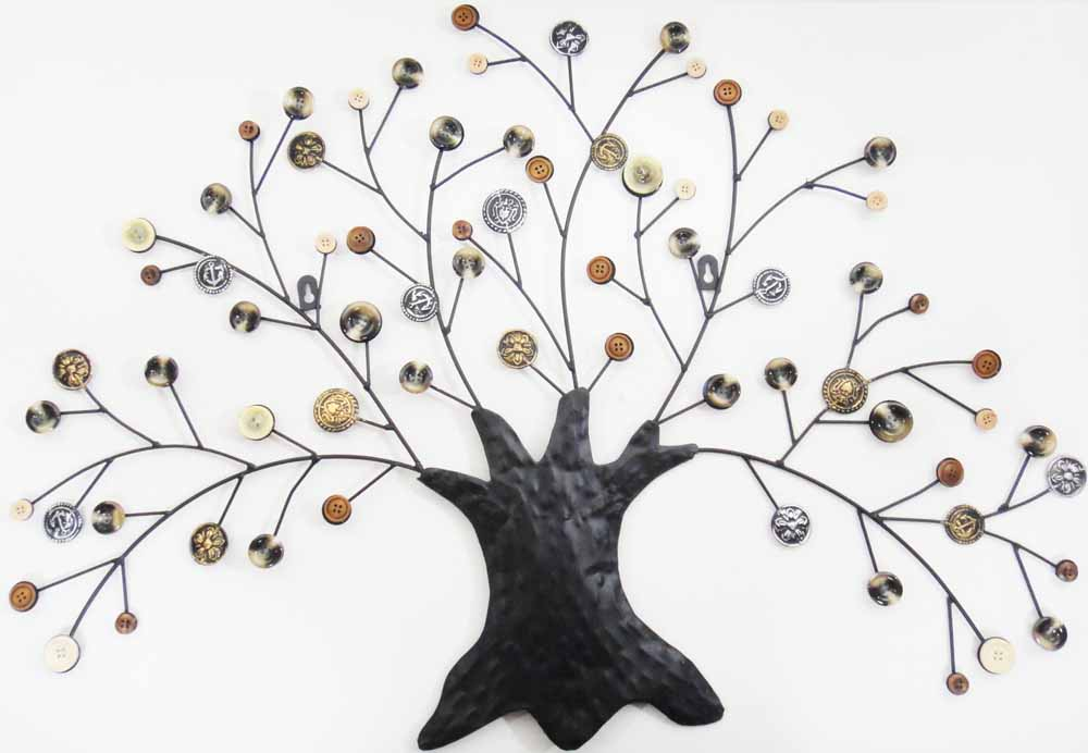 autumn button oak tree metal wall art finished in rustic autumn colour