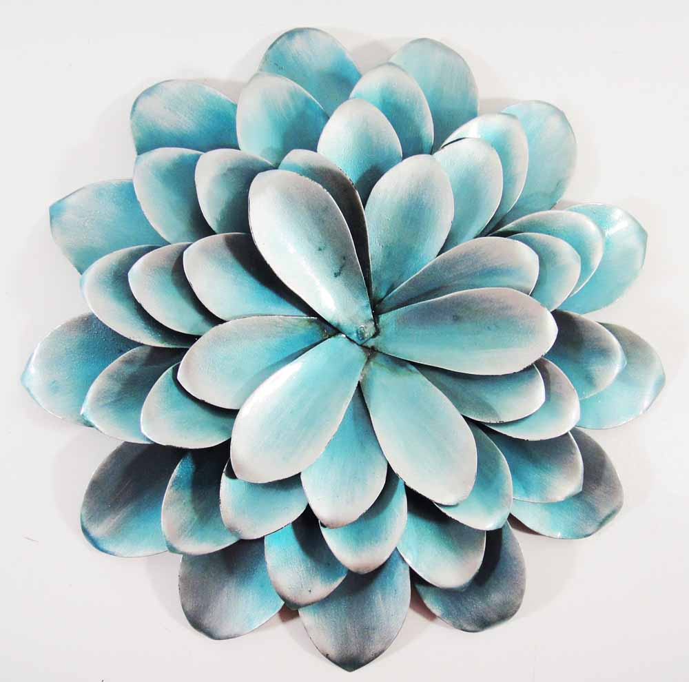 Blue Metal Wall Decor Interesting Blue Flower Metal Wall Art  Wall Murals Ideas Review