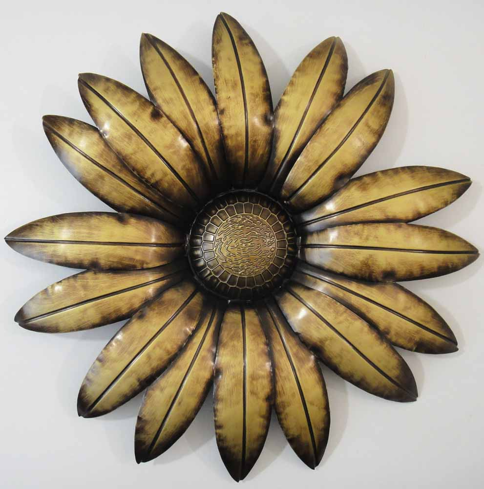 New contemporary metal wall art decor or sculpture bronze for Metal flower wall art