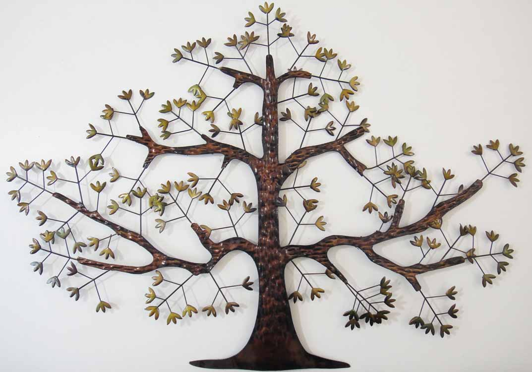 new contemporary metal wall art decor or sculpture brown oak tree