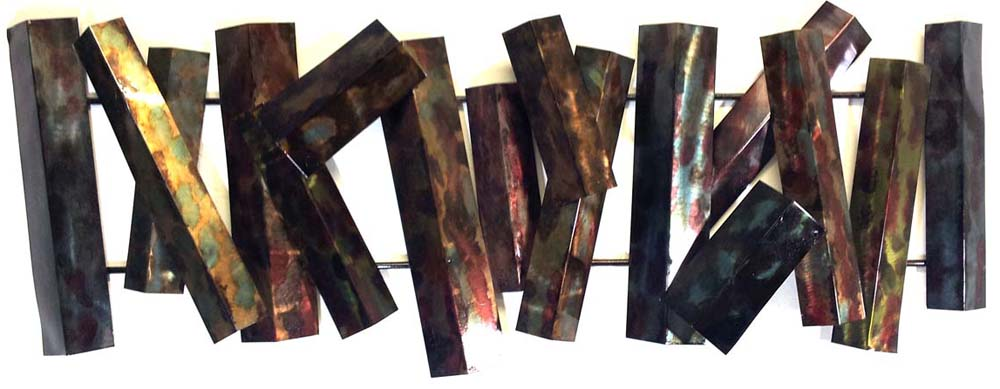 Metal Wall Art - Large Burnt Abstract Fence