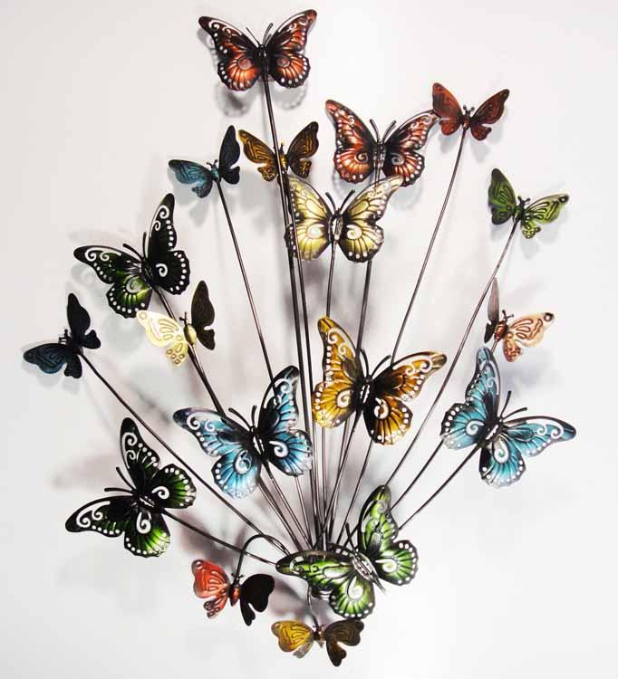 Wall Art Glass Butterflies : New contemporary metal wall art decor or sculpture