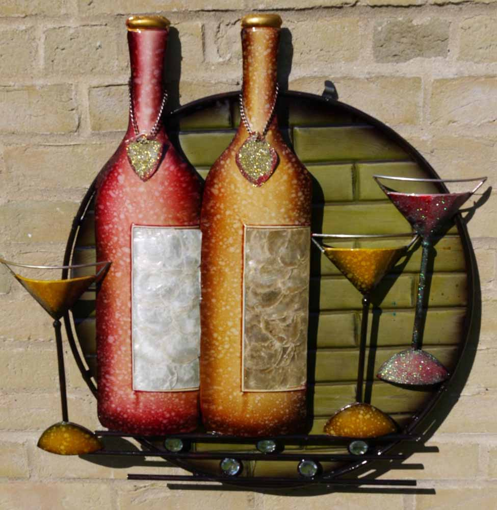 Metal Wall Art Cocktail Wine Time