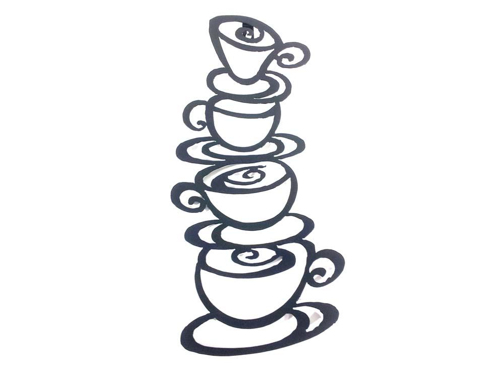 Metal wall art coffee tea cup tower for Tea and coffee wall art
