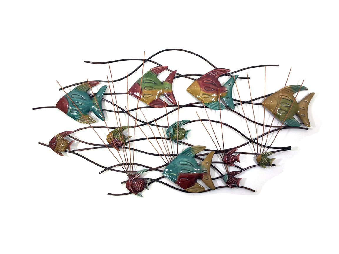 Metal Wall Art - Colour Angel Fish In Reeds