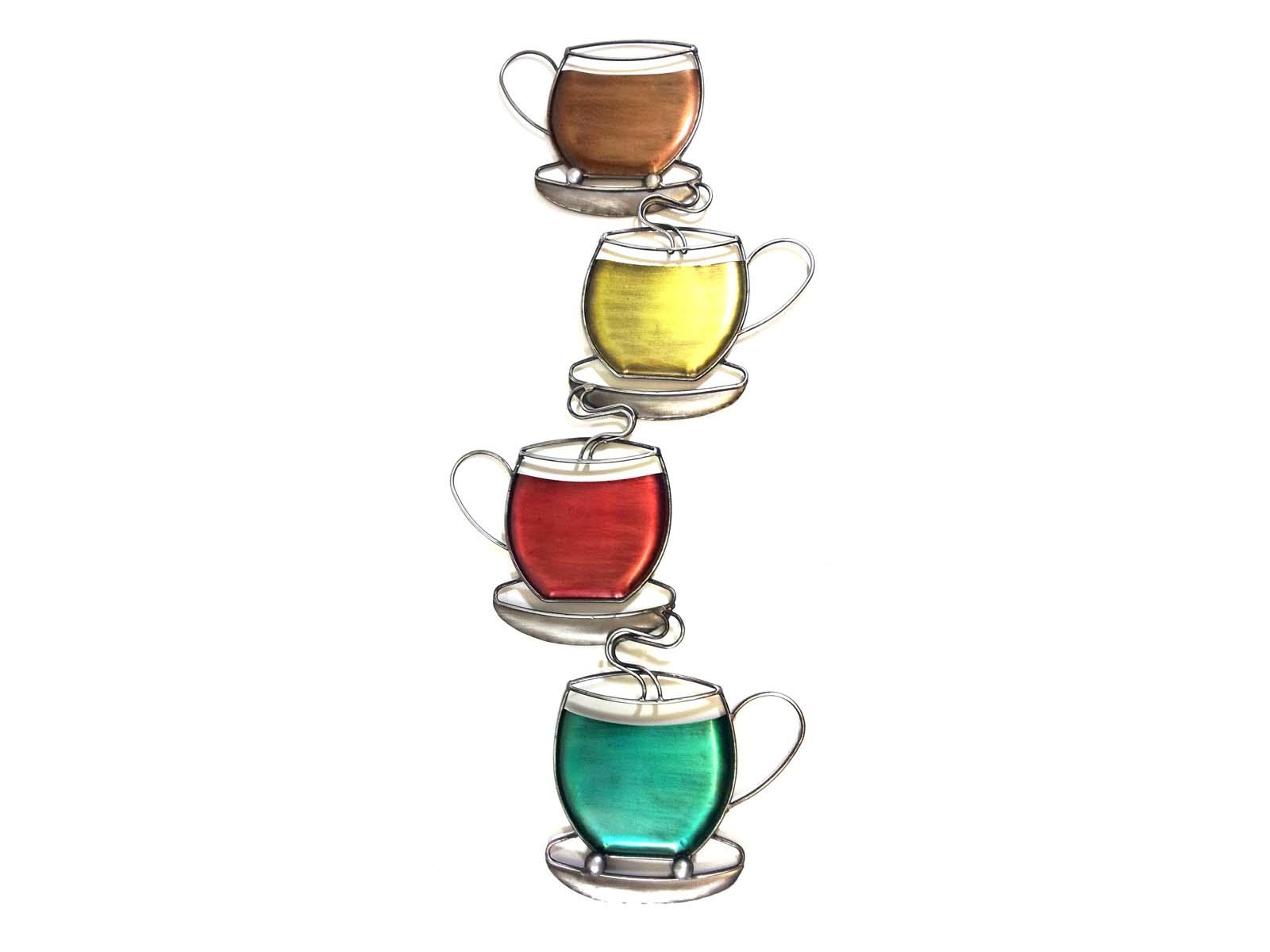 Metal wall art colour coffee tea cup tower for Tea and coffee wall art