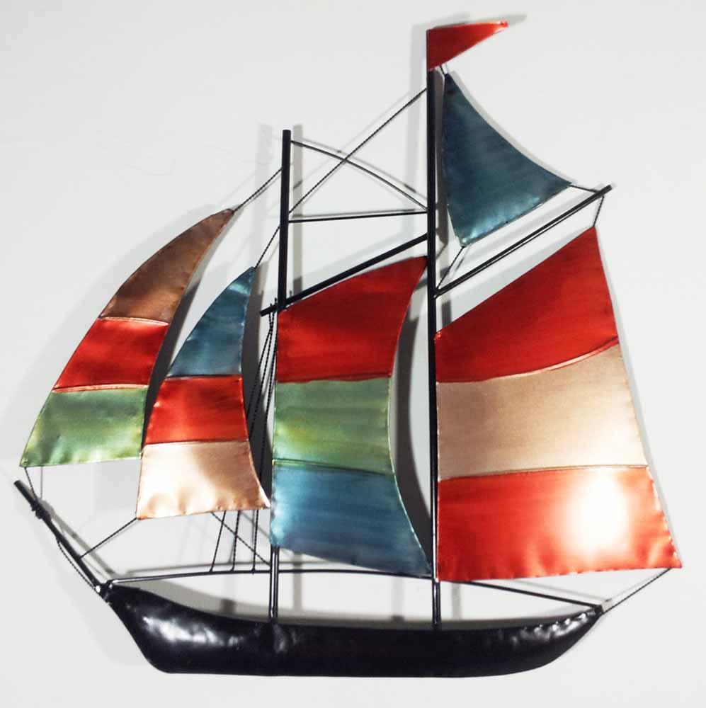 Metal Wall Art Colour Sailing Ship Yacht