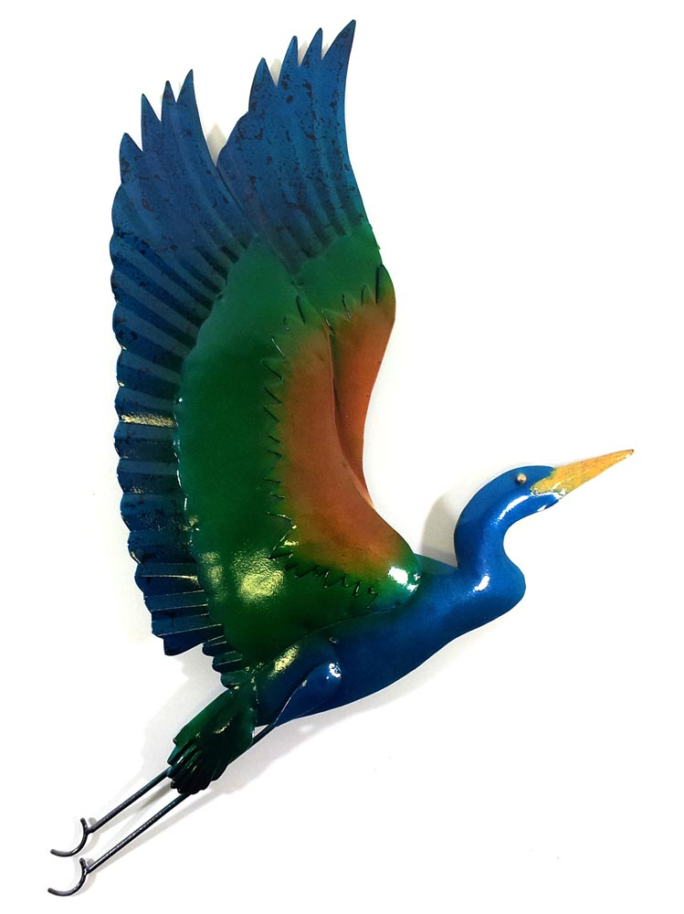 Metal Wall Art - Colourful Flying Heron Wall Decor