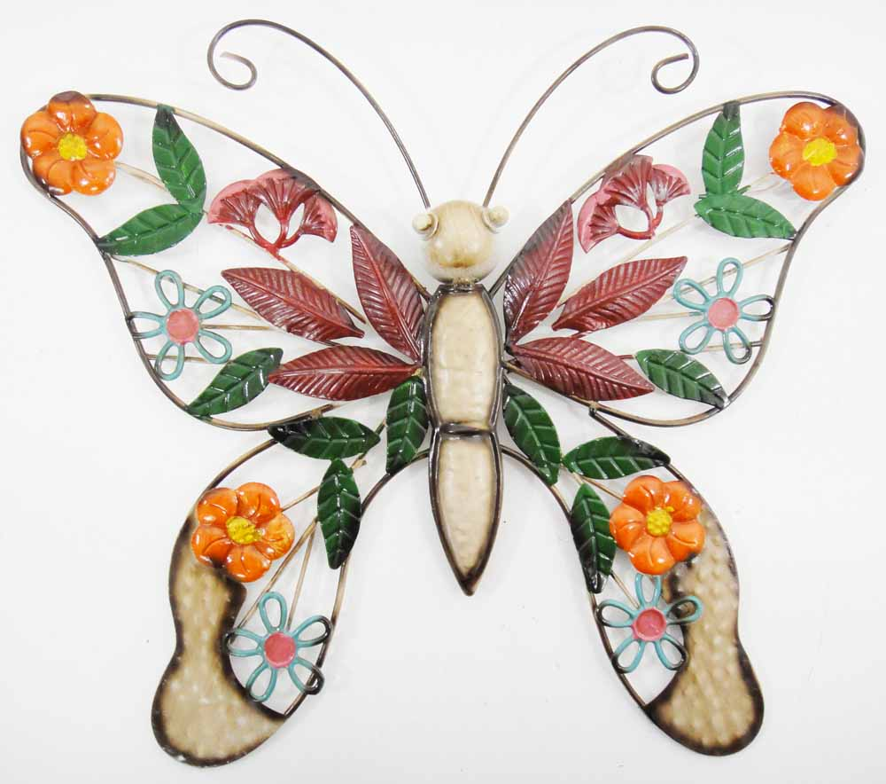 Metal Wall Art - Flower Butterfly