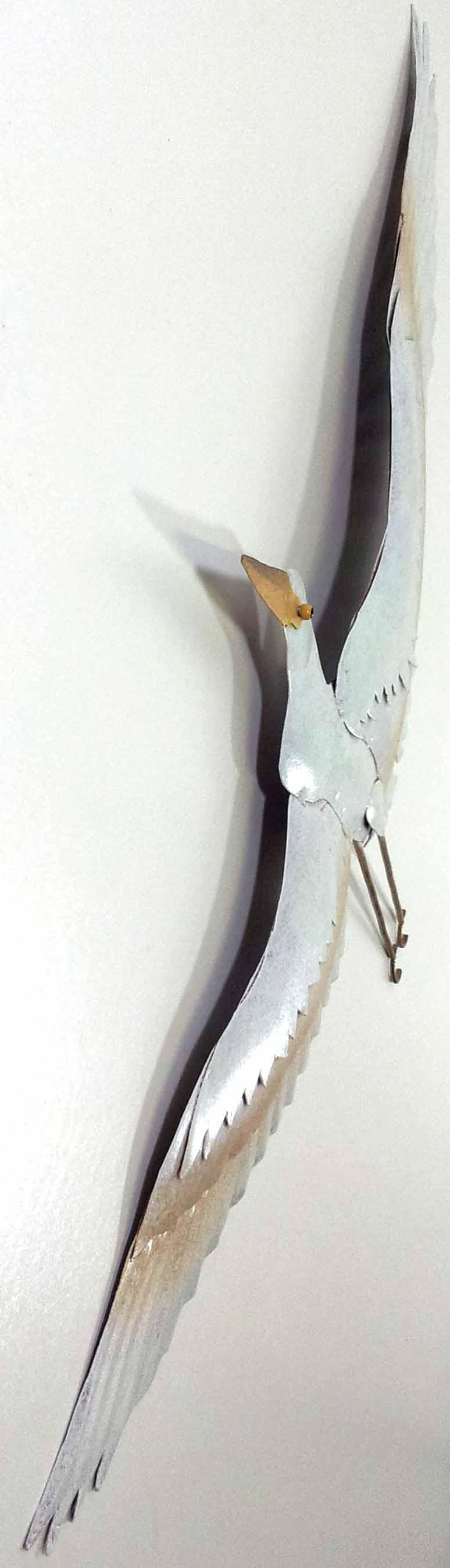 White Tin Wall Decor : Metal wall art white flying heron decor