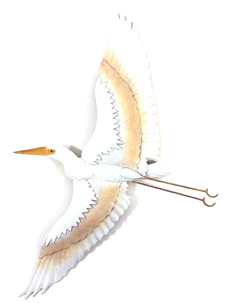 Metal Wall Art - White Flying Heron Wall Decor