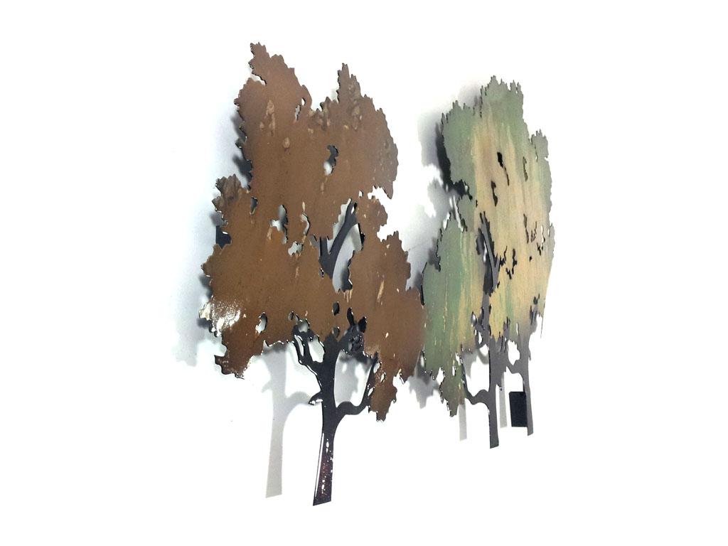 metal wall art forest tree scene: tree scene metal wall art
