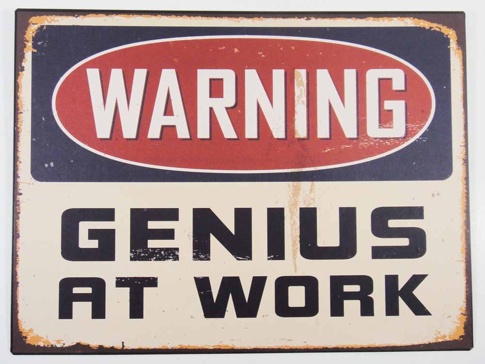 Metal Wall Art - Genius At Work Sign