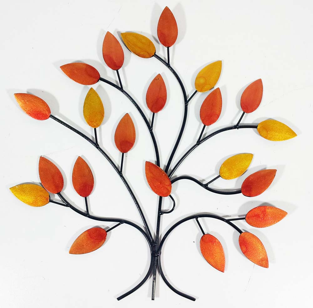 metal wall art golden autumn tree branch: tree scene metal wall art