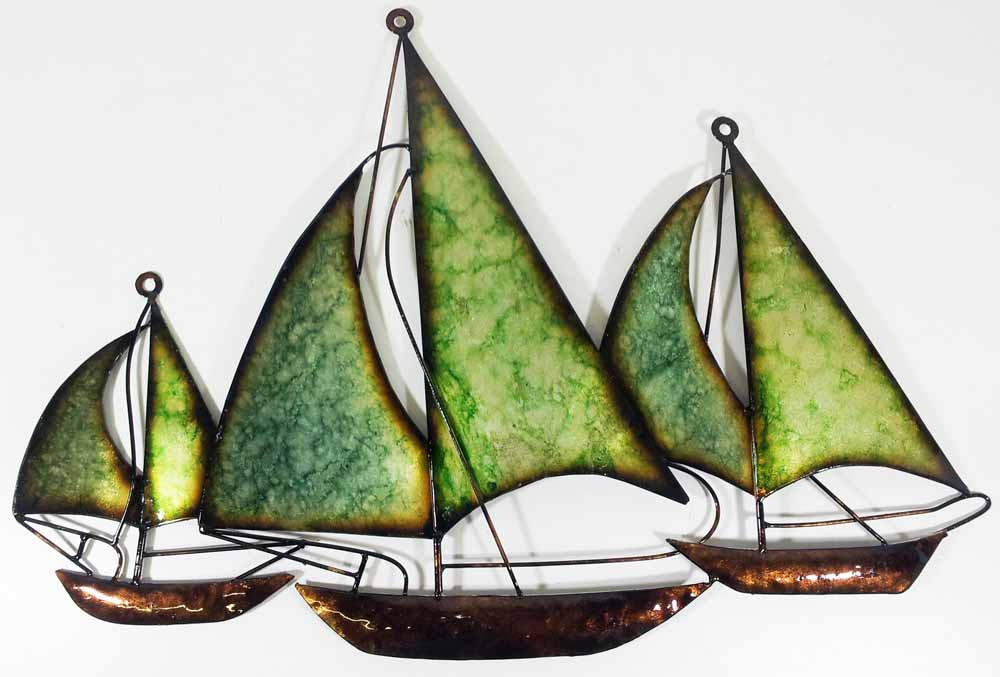 Metal Wall Art - Green Blue Fleet Of Boats