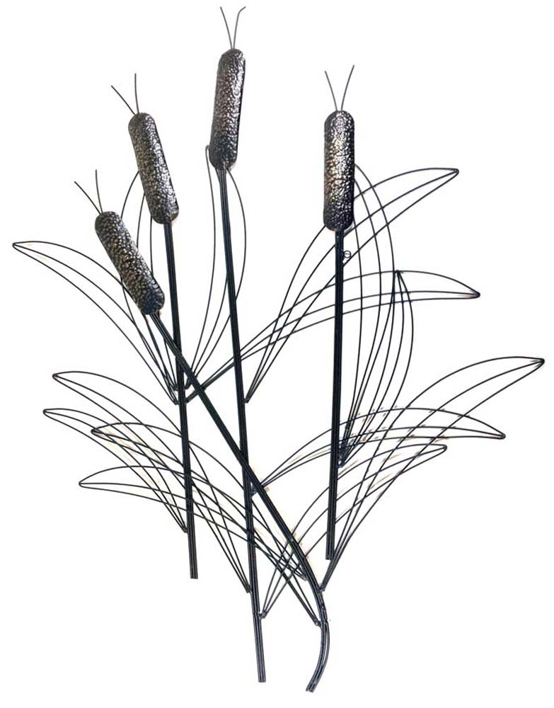 metal wall art large bronze bullrush reeds