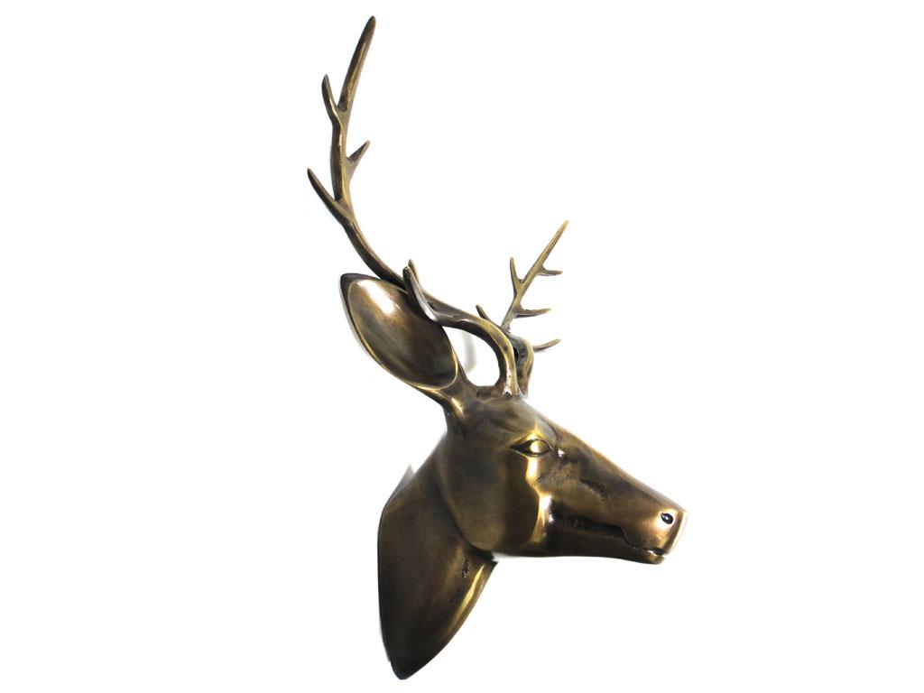 Metal Wall Art Large Deer Stag Head Bronze Finish