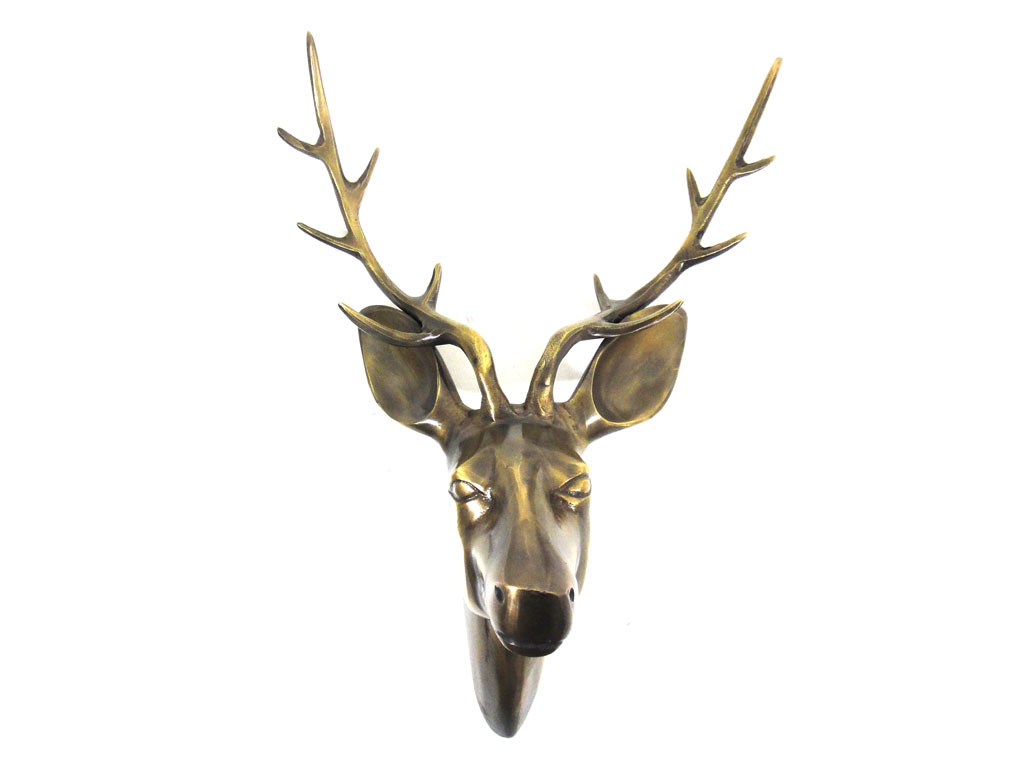 Metal Wall Art - Large Deer Stag Head Bronze Finish