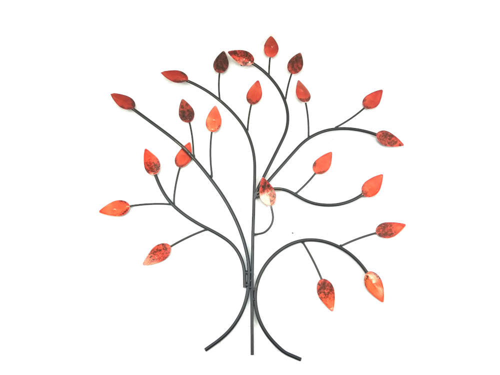 Metal Wall Art Large Fire Red Summer Tree Branch