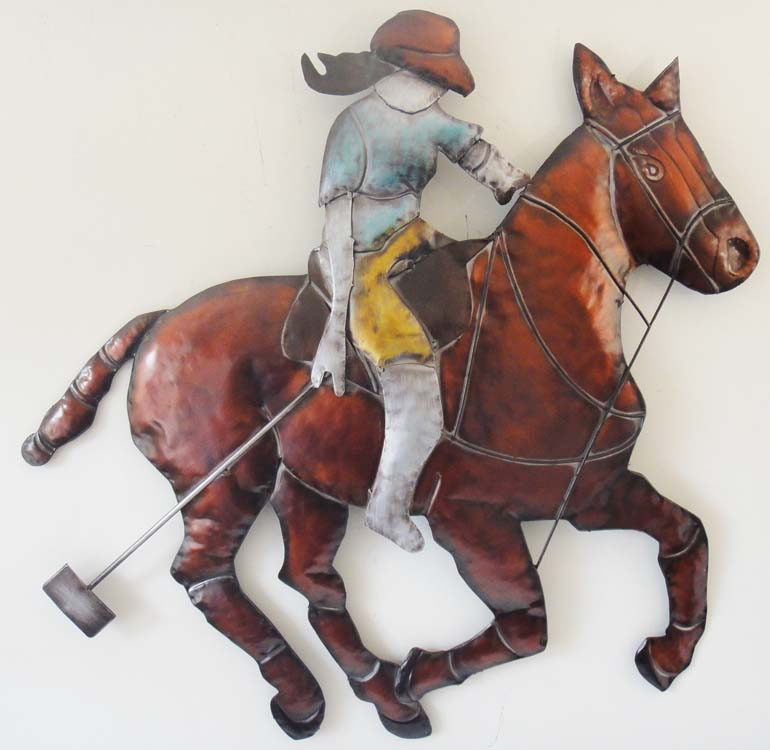 Metal Wall Art - Large Polo Horse And Rider