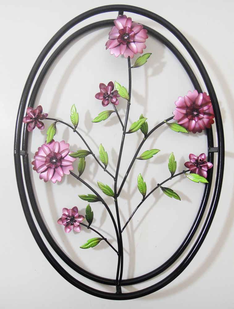 new contemporary metal wall art decor sculpture lilac purple flower in frame ebay. Black Bedroom Furniture Sets. Home Design Ideas